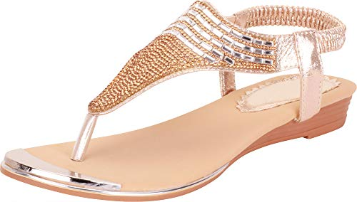 Cambridge Select Women's Thong Toe Crystal Rhinestone Stretch Slingback Low Wedge Sandal,6.5 B(M) US,Gold