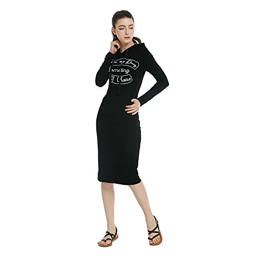 Personalized Black Long Sweater Fashion Women Pullover Cotton women's Dress Casual Benala Hooded nx0UqwPag