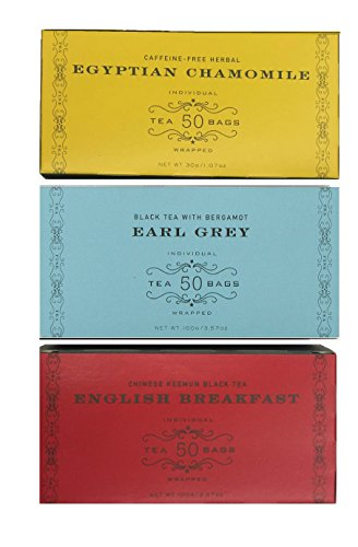 Harney & Sons Variety Pack Total of 150 Tea Bags (50 Bags Earl Grey,50 Bags English Breakfast,50 Bags Egyptian Chamomile Herbal Tea )