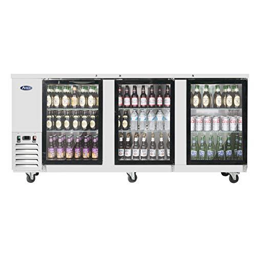 Back Bar Cooler with Glass Door, 3 Doors Counter Height Refrigerator 30.1 Cu.Ft. 6 Shelves Large Capicity, ATOSA ()