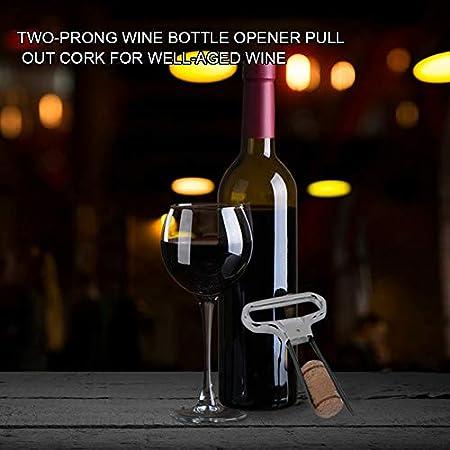 Adaskala Tirador de Corcho de Dos Puntas con Tapa Abridor de Vino Abrebotellas de Corcho Sacacorchos de Acero Inoxidable para Apertura de Botella de Vino Vintage