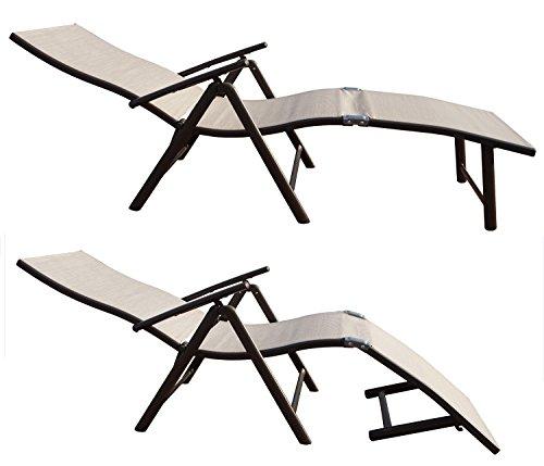 Kozyard Cozy Aluminum Beach Yard Pool Folding Reclining Adjustable Chaise Lounge Chair (2, Beige) by Kozyard (Image #2)