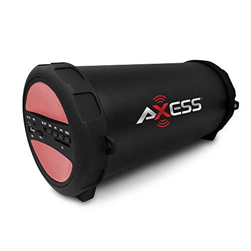AXESS SPBT1041 Portable Thunder Sonic Bluetooth Cylinder Loud Speaker with Built-In FM Radio, SD Card, USB, AUX Inputs in Pink by Axess
