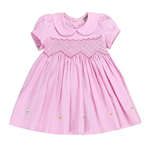 - sissymini - Petite Adele Knit Chambray Hand Smocked & Embroidered Dress with Pearl Details- Heavenly Pink 2T