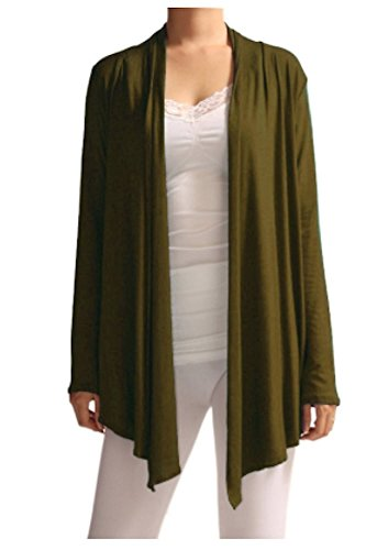 Viosi Women's Soft Comfortable Open Front Cardigan - Made in USA Olive