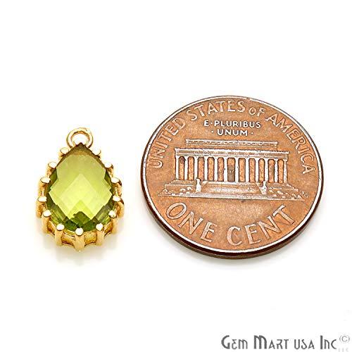 Faceted Peridot Drops - Peridot Drop Gemstone Connector, Faceted Connector, Prong Setting Gemstone, 14x9mm, Pears Shape, Single Bail Pendant (GPPH-50237)