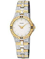 Pulsar Womens PTA366 Crystal Accented Two-Tone Stainless Steel Watch
