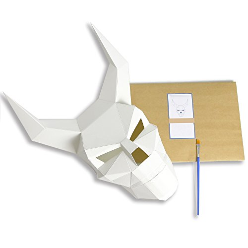 3D Paper Mask Animal Head Molds DIY Halloween Party Costume Cosplay Facial Paper-Craft Kit (Monster White)