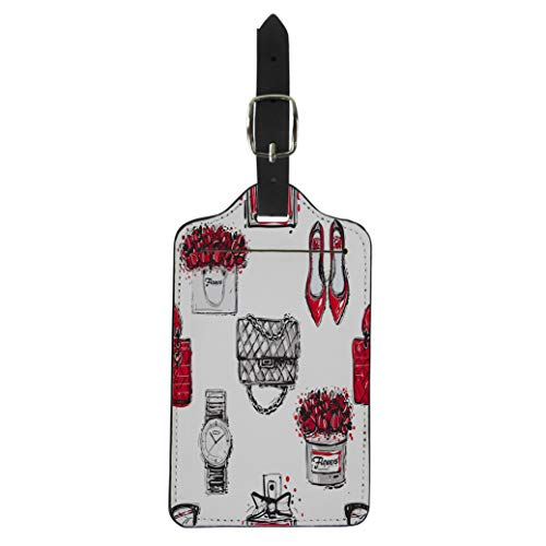 (Semtomn Luggage Tag Graphic Sketch Shoes Clutch Handbag Wrist Watch French Perfume Suitcase Baggage Label Travel Tag Labels)