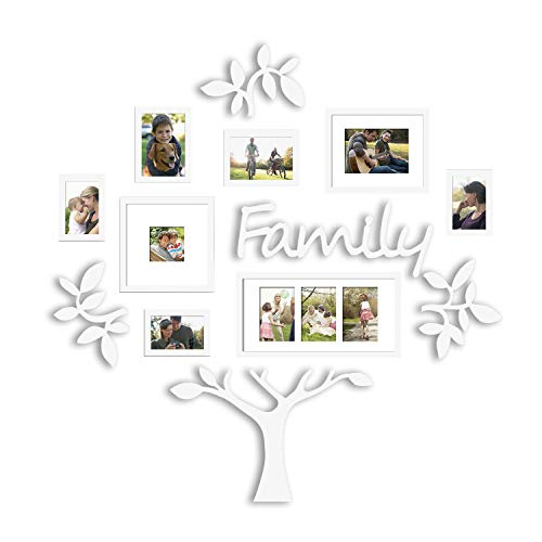 to Frame | Plaque College Frame - Wall Decoration Combination - White PVC Picture Frame Selfie Gallery Collage with Hanging Template & Wall Mounting Design | Family Tree ()