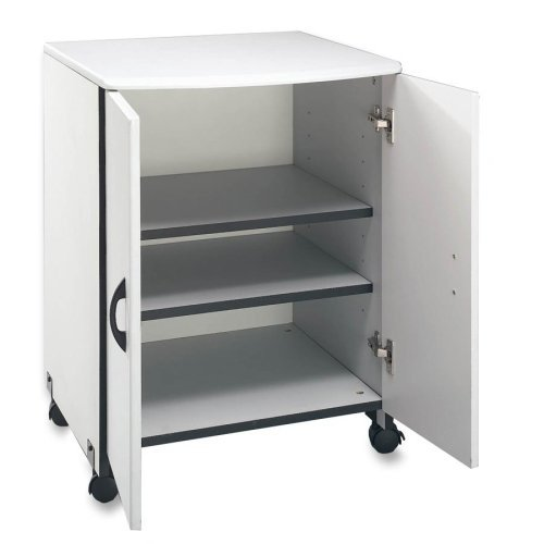 Mobile Printer Stand in White Paper Sorter Included Laminate Finish Four Casters Two Locking with 2 Doors Adjustable ()
