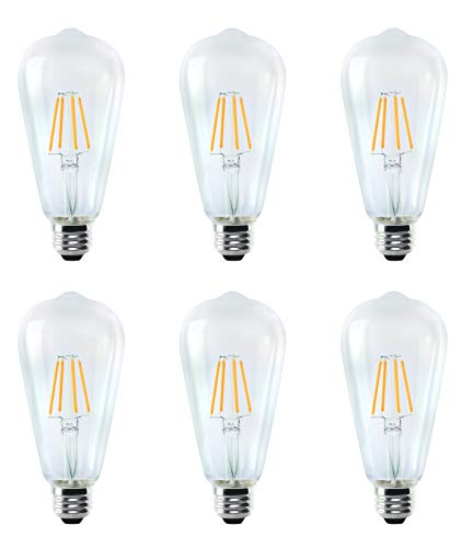 OSTWIN Antique Vintage Thomas Edison Style Dimmable ST64 ST21 Clear Glass LED Filament Light Bulbs Teardrop 4W (40 Watt Equivalent) 400Lm 2700K (Soft Warm White) E26 Medium Base (6 Pack) UL Listed