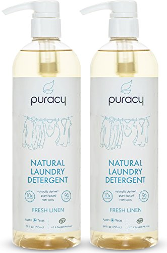 Puracy Natural Liquid Laundry Detergent, Sulfate-Free, THE BEST Hypoallergenic Clothing Soap, Powered by Plant-Based Enzymes, Fresh Linen, 192 Loads, (Pack of 2 Pump Bottles)