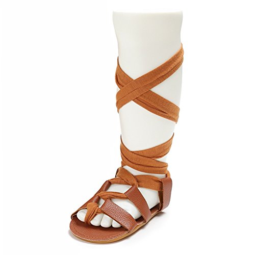 Fire Frog Pu Leather Sandals Gladiator Bandage Roma Knee-high Boots for Baby Girls Summer Shoes