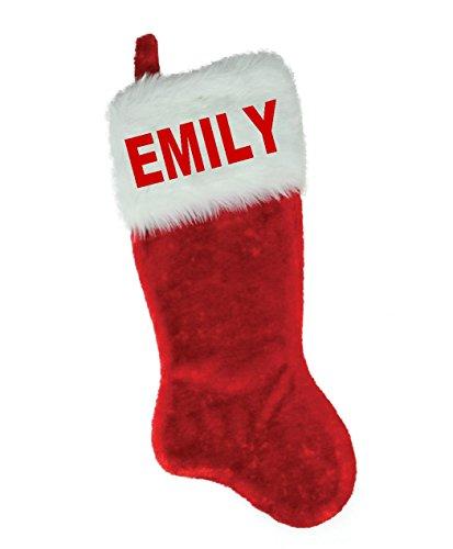 White Red Plush Stocking - NAME (EMILY) EMBROIDERED 18