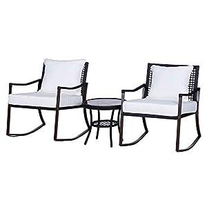 Ensemble de Jardin 3 pièces Style Cosy 2 fauteuils à Bascule avec Coussins Assise Dossier + Table Basse résine tressée…