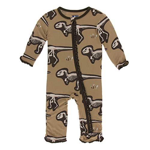 Kickee Pants Little Girls Print Muffin Ruffle Coverall with Zipper - Tannin T-Rex Dig, 5 Years