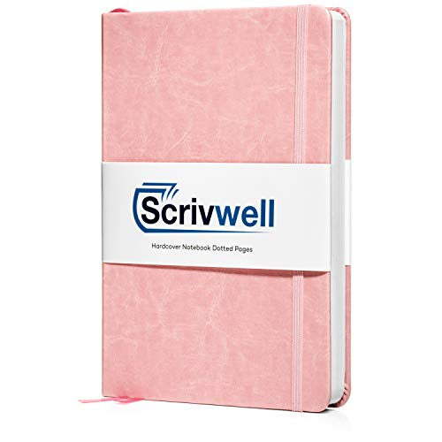 Scrivwell Dotted A5 Hardcover Notebook - 208 Dotted Pages with Elastic Band, Two Ribbon Page Markers, 120 GSM Paper, Pocket Folder - Great for Bullet journaling (Pink)