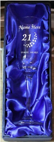 21st BIRTHDAY CHAMPAGNE FLUTE GLASS CH3 ENGRAVED PERSONALISED IN SILK LINED GIFT BOX 1stclassgifts.co.uk
