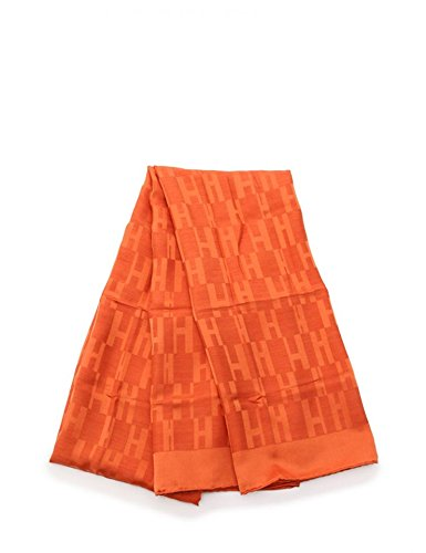 [エルメス]HERMES Hロゴ 大判 ストール ショール シルク ウール オレンジ 中古 B07F3VPLVW  -