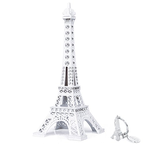 SiCoHome Eiffel Tower Cake Topper 7.0inch white with Blings Figurine Replica Centerpiece Room Table Eiffel Tower Decor French Souvenir Gift From Paris,France,for Gifts,Party And House Decoration