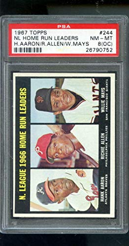 1967 Topps #244 1966 Home Run Leaders Hank Aaron Willie Mays 8 (OC) Graded - PSA/DNA Certified - Baseball Slabbed Autographed Vintage Cards