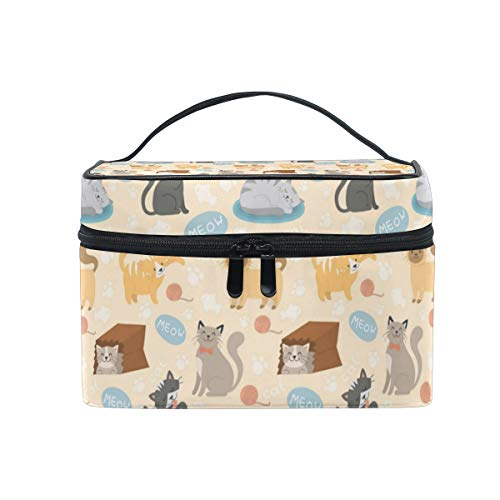Makeup Bag Cute Cats Play Box Cosmetic Case Portable Carry Travel Toiletry Bag Toiletry Bags for Womens Storage -