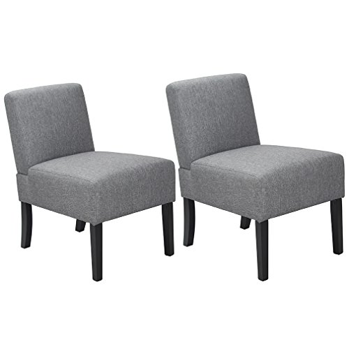 BestMassage modern Design Fabric Armless Accent Dining Chairs with Solid Wood Legs, set of 2 by BestMassage