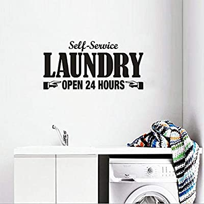 Wall Stickers Murals Laundry Room Wall Sticker Mural Home Door Decor Wall Decal Self Service Open 24 Hours Text Washer Laundry Room Decoration 57x28cm Buy Online At Best Price In Uae