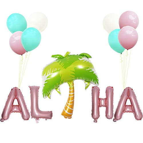 (Haomian Aloha Balloons Palm Tree Mylar Balloon for Hawaiian Summer Party Luau Party Decoration)