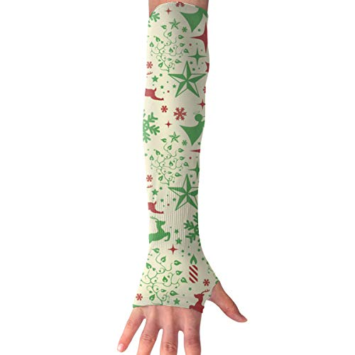 - MZ-HY Men Women Classic Sports Arm Sleeves Christmas Holly and Reindeer UV Protection Performance Arm Sleeve (1 Pair)