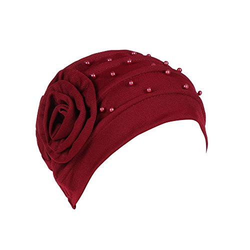(BCDshop Women Bead India Muslim Hat Cancer Chemo Beanie Floral Turban Wrap Cap Stretch Headwear (Wine, Free)