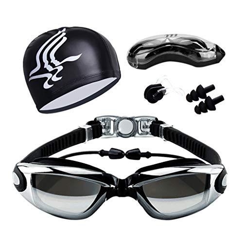 Elite Goggle - The Elite Professional HD Anti-Fog Swim Goggles Swimming Cap Waterproof Silicone Swim Pool Hat for Adult Men Women Kids Multiple Choice (Black)
