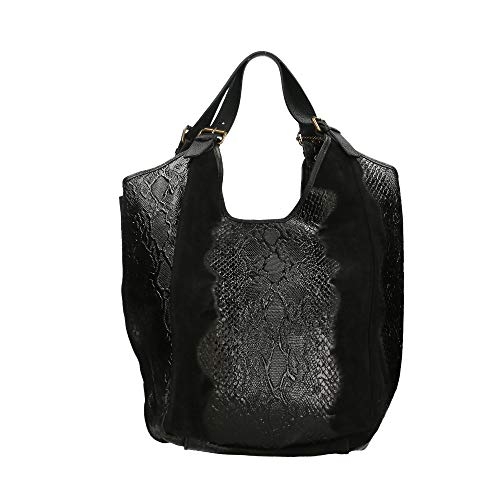 Mano Borsa Borse Cm Made Chicca Italy In A Bag 46x37x5 Nero Pelle FwInq1An