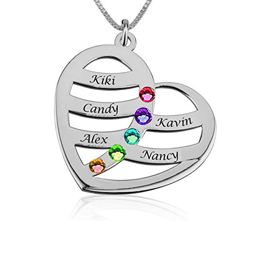 925 Sterling Silver Personalized Heart Family Name Necklace with Birthstone Custom Made with Any Names (Silver Five Names)