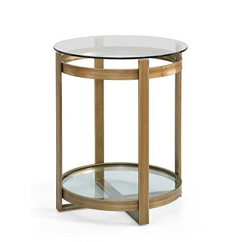IQ Gold Side Table | Antique Metal End Table with Glass Top and Bottom Shelf Includes ModHaus Living (TM) Pen