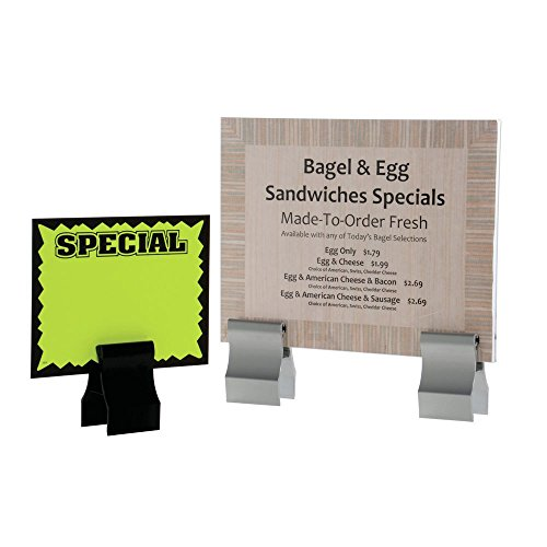 Countertop Sign Holder with Clamp Aluminum Matte Black Clamp - 2