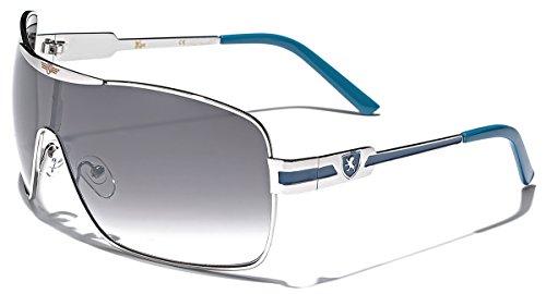 Khan Fashion Men's Square Aviator Style Sunglasses Silver Black Blue Sport Shades