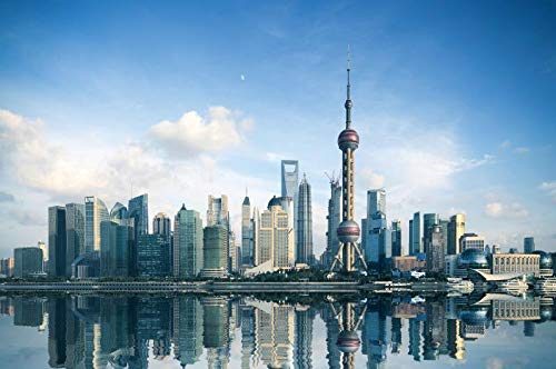 (Baocicco 8X6.5ft Photography Backgrounds Shanghai City Sunny Day Time Cloud The Oriental Pearl Tower Skyscrapers Tall Buildings River Mirror Reflection Chinese Landmark Photo Shooting Props Backdrop)