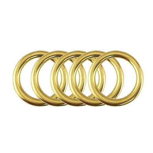 Proteus 1-1/8 inch Diameter, Solid Brass Round Ring for Webbing Strapping Saddlery Flat Cords Belting Leathercraft, Pack of 5 (Insides 1-1/8 inch) ()