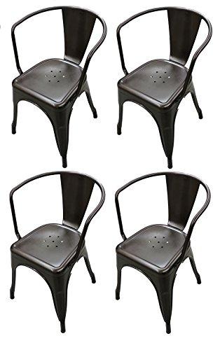 Titan Modern Metal Dining Room Stacking Chair - Set of 4 (Bronze) ()