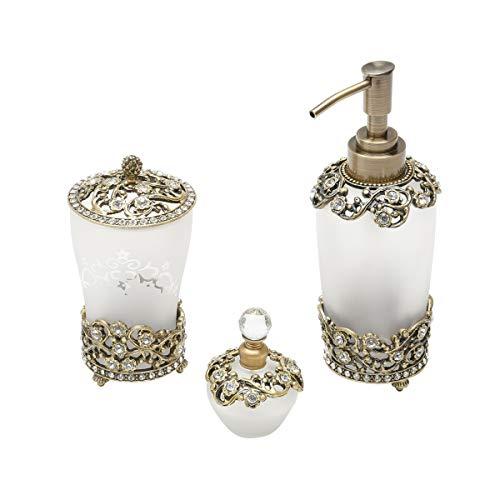 Cj 3 Pc de Banheiro de Vidro Sodo-Cálcico com Detalhes em Zamac Rojemac Transparente Metal
