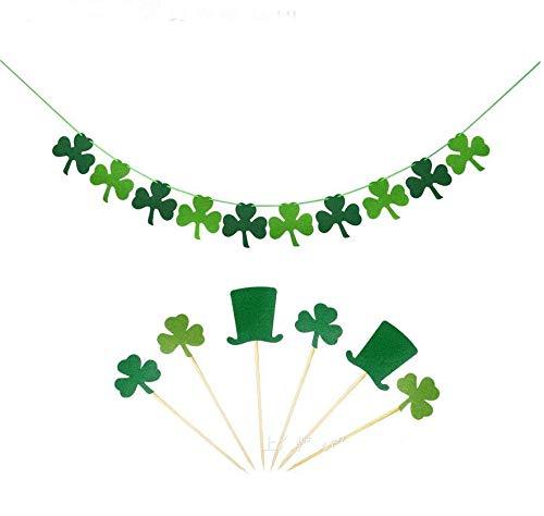 Astra Gourmet Felt Shamrock Clover Garland Banner & Cupcake Toppers - St. Patrick 's Day Banner Decor - St. Patrick 's Day Garland Decorations - Irish Party -
