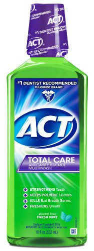 ACT Total Care Rinse Mouthwash, Fresh Mint, 18 Ounce (Flouride Mouthwash)