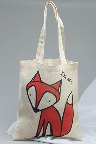 Bolso textil de mujer con pintura de zorro original hecho a mano