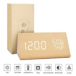 BlaCOG Alarm Clock Display Time Date Temperature,Wooden Alarm Clock for Bedroom,Digital clock Adjustable Brightness Voice Control-Bamboo/White