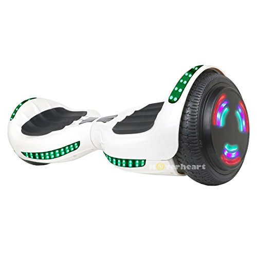 "Hoverboard UL 2272 Certified Flash Wheel 6.5"" Bluetooth Speaker with LED Light Self Balancing Wheel Electric Scooter (White)"