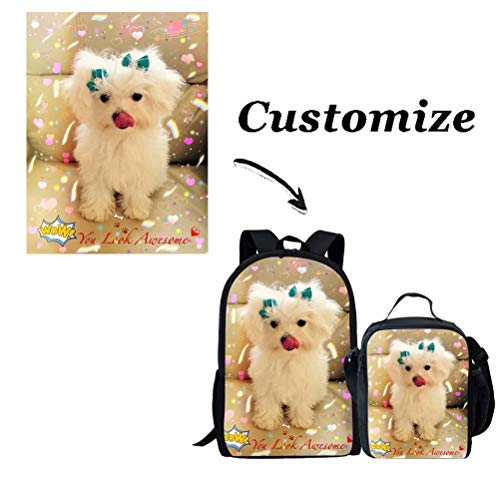 Showudesigns Custom School Backpack Set with Customize School Bag + Custom Lunch Box for Kids Boys Girls