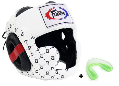 Fairtex HG10 - Super Sparring Headguard & MG - Mouthguard. Head guard available in Size M L XL, Black White Color. Boxing MMA K1 protective headgear. (White, L)