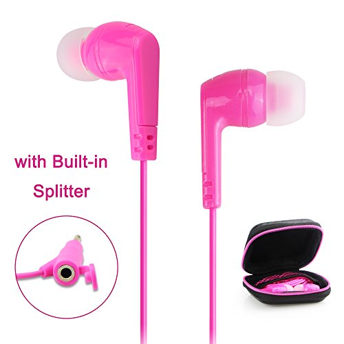 Earbuds with Built-in 3.5mm Jack Splitter, ilikable In-ear Headphones with Carrying Pouch Bonus, Noise Cancelling Earphones for Apple Android Windows Music Player and More-S M L Ear Caps-Pink